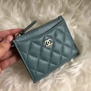 18C Chanel Light Blue Turquoise Zip Card Holder